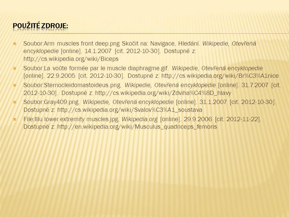  Soubor:Arm muscles front deep.png Skočit na: Navigace, Hledání. Wikipedie, Otevřená encyklopedie [online]. 14.1.2007 [cit. 2012-10-30]. Dostupné z: