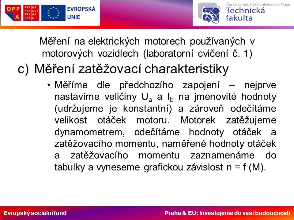 Evropský sociální fond Praha & EU: Investujeme do vaší budoucnosti Měření na elektrických motorech používaných v motorových vozidlech (laboratorní cvičení č.