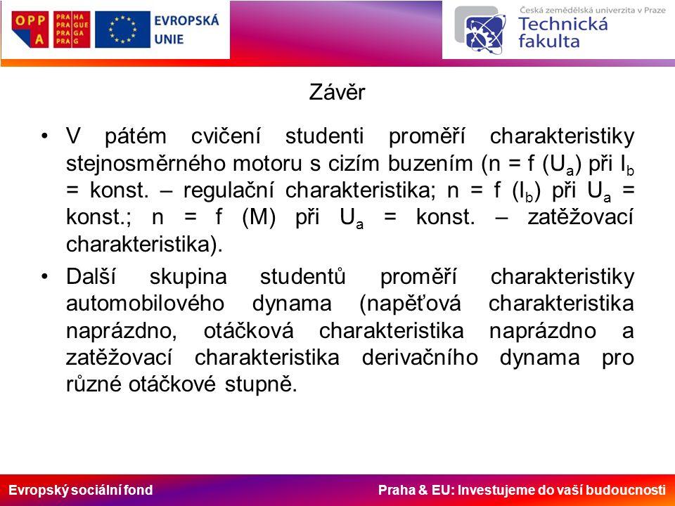 Evropský sociální fond Praha & EU: Investujeme do vaší budoucnosti Závěr V pátém cvičení studenti proměří charakteristiky stejnosměrného motoru s cizím buzením (n = f (U a ) při I b = konst.