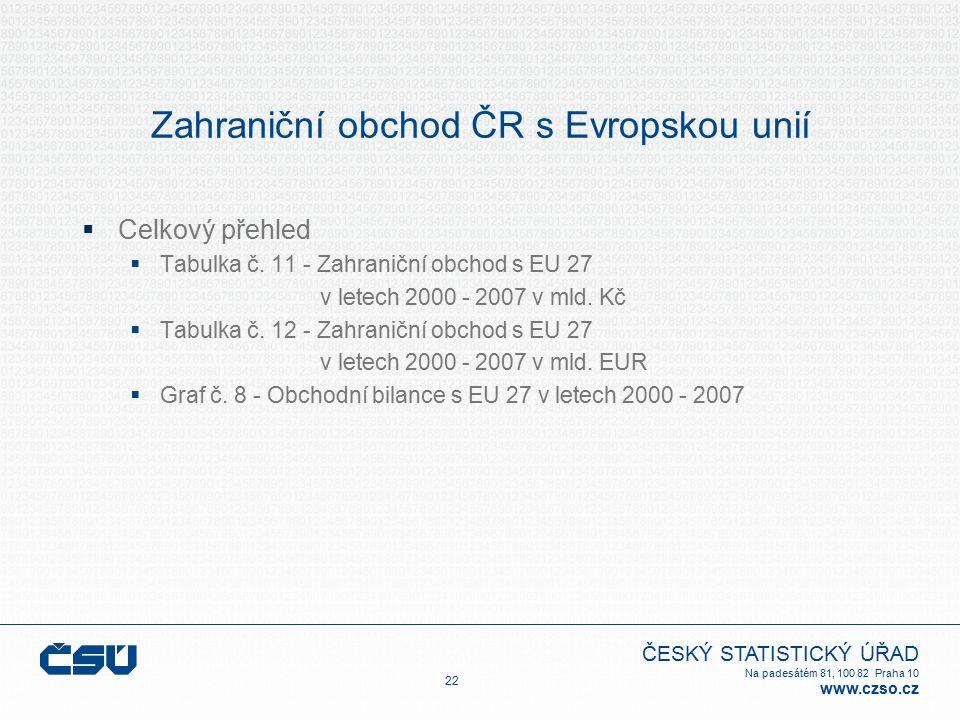 ČESKÝ STATISTICKÝ ÚŘAD Na padesátém 81, 100 82 Praha 10 www.czso.cz Zahraniční obchod ČR s Evropskou unií  Celkový přehled  Tabulka č.