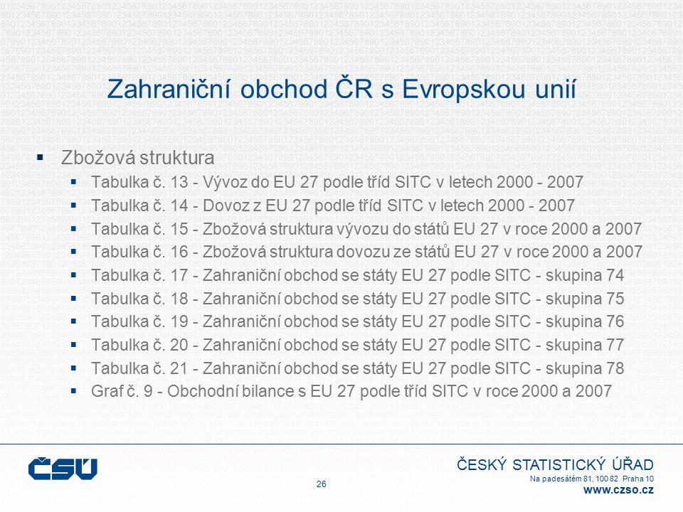 ČESKÝ STATISTICKÝ ÚŘAD Na padesátém 81, 100 82 Praha 10 www.czso.cz Zahraniční obchod ČR s Evropskou unií  Zbožová struktura  Tabulka č.