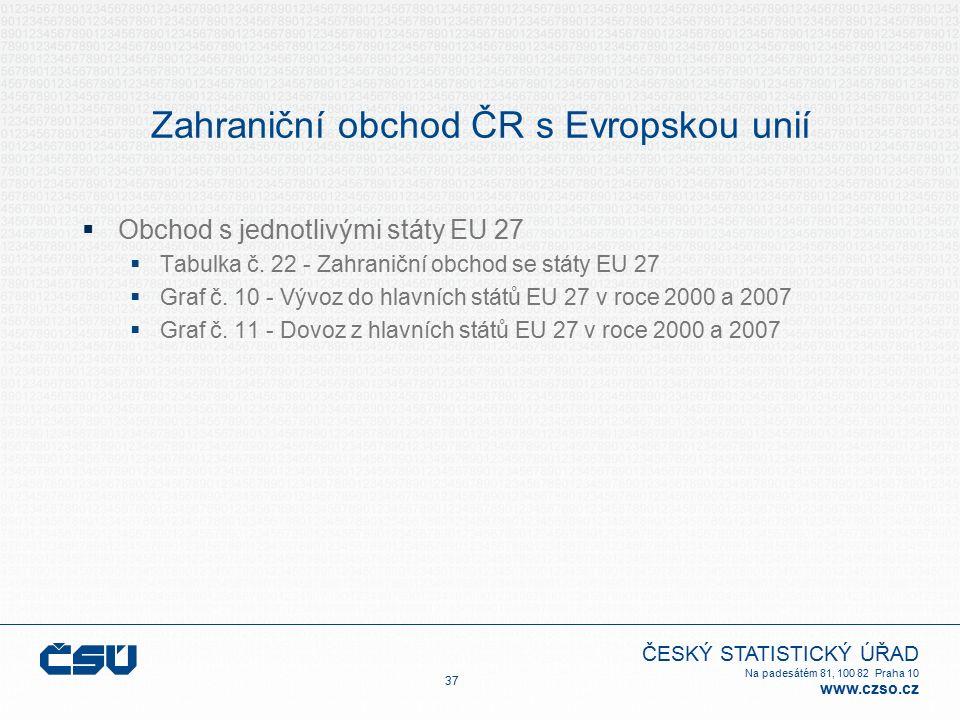 ČESKÝ STATISTICKÝ ÚŘAD Na padesátém 81, 100 82 Praha 10 www.czso.cz Zahraniční obchod ČR s Evropskou unií  Obchod s jednotlivými státy EU 27  Tabulka č.