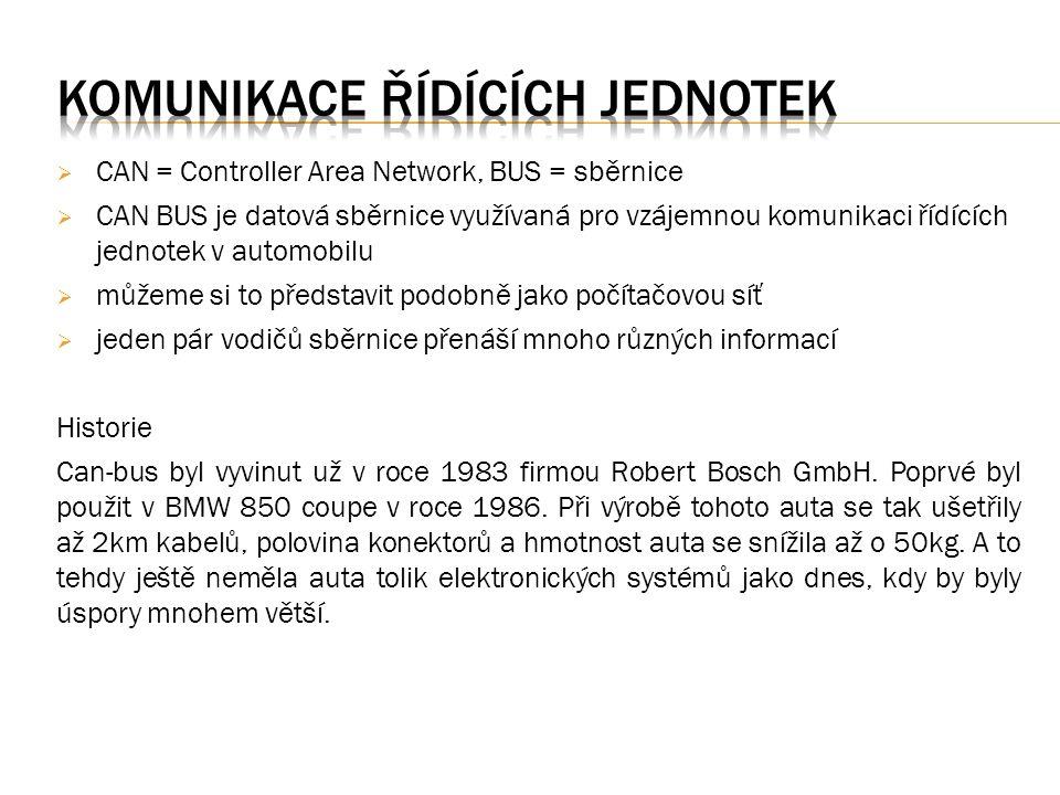  CAN = Controller Area Network, BUS = sběrnice  CAN BUS je datová sběrnice využívaná pro vzájemnou komunikaci řídících jednotek v automobilu  můžeme si to představit podobně jako počítačovou síť  jeden pár vodičů sběrnice přenáší mnoho různých informací Historie Can-bus byl vyvinut už v roce 1983 firmou Robert Bosch GmbH.
