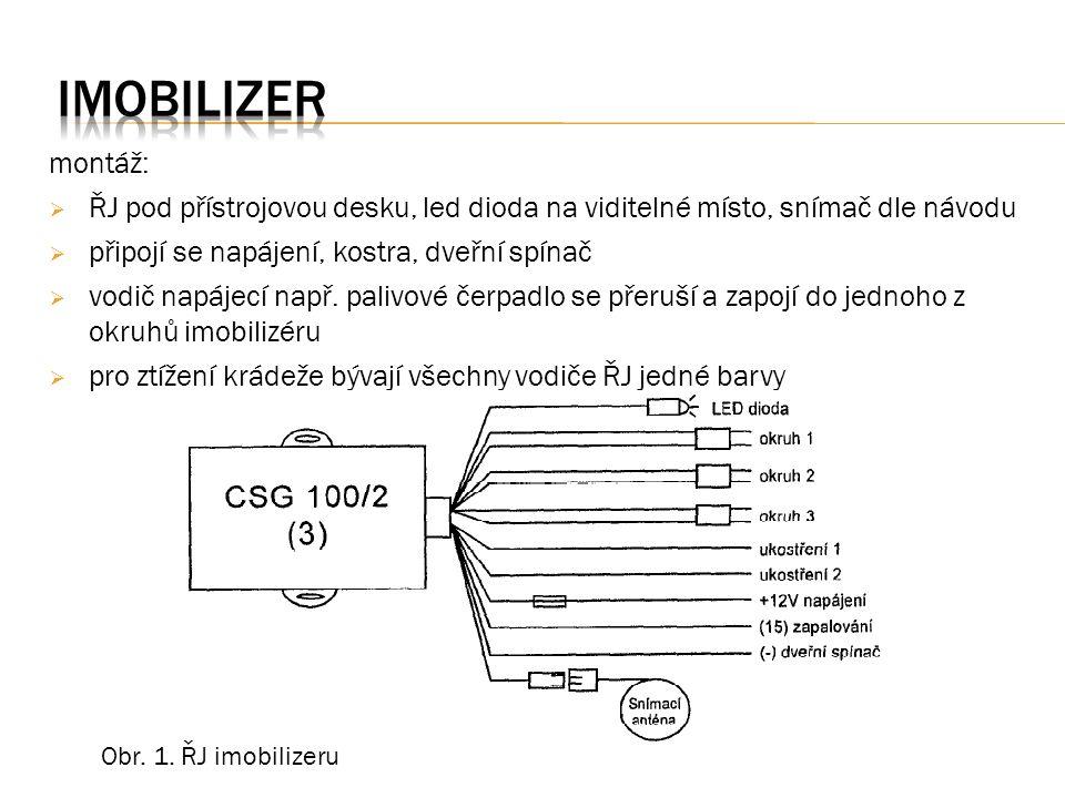 montáž:  ŘJ pod přístrojovou desku, led dioda na viditelné místo, snímač dle návodu  připojí se napájení, kostra, dveřní spínač  vodič napájecí např.