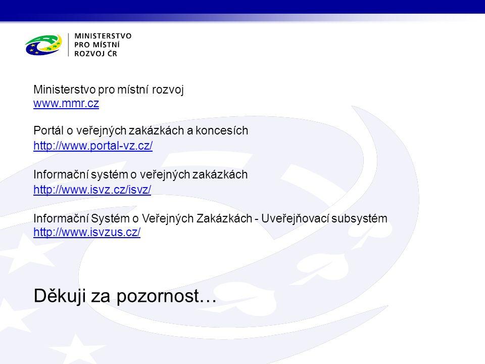 Děkuji za pozornost… Ministerstvo pro místní rozvoj www.mmr.cz Portál o veřejných zakázkách a koncesích http://www.portal-vz.cz/ Informační systém o veřejných zakázkách http://www.isvz.cz/isvz/ Informační Systém o Veřejných Zakázkách - Uveřejňovací subsystém http://www.isvzus.cz/