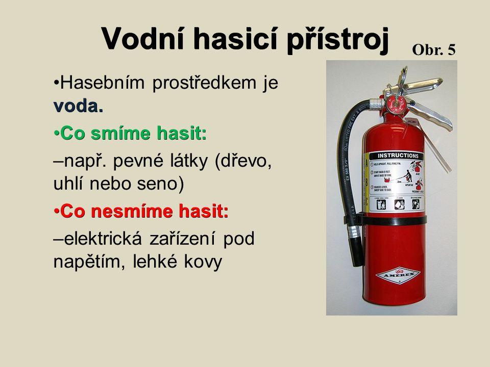 Vodní hasicí přístroj voda. Hasebním prostředkem je voda. Co smíme hasit: Co smíme hasit: – např. pevné látky (dřevo, uhlí nebo seno) Co nesmíme hasit