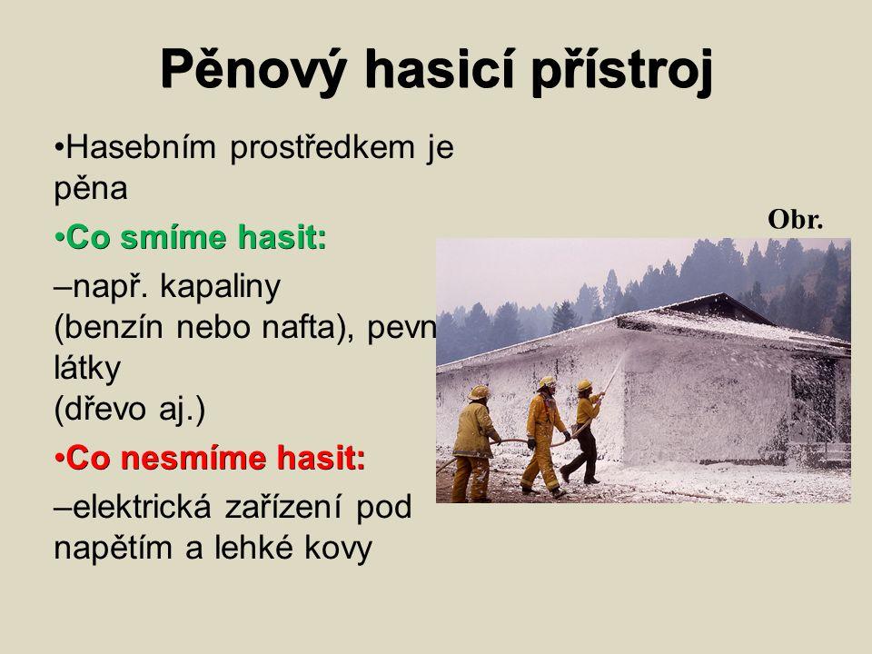 Pěnový hasicí přístroj Hasebním prostředkem je pěna Co smíme hasit: Co smíme hasit: – např.