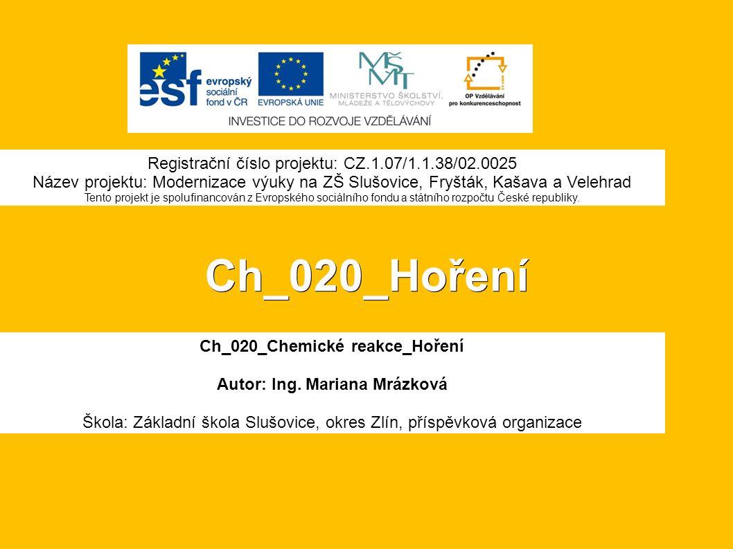 Ch_020_Hoření Ch_020_Chemické reakce_Hoření Autor: Ing.