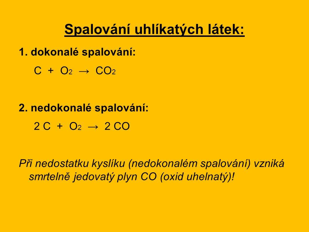 Spalování uhlíkatých látek: 1.dokonalé spalování: C + O 2 → CO 2 2.