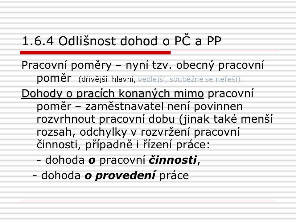 1.6.4 Odlišnost dohod o PČ a PP Pracovní poměry – nyní tzv.