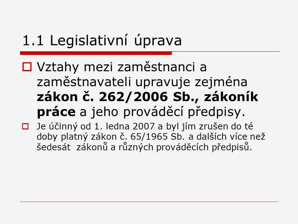 1.1 Legislativní úprava  Vztahy mezi zaměstnanci a zaměstnavateli upravuje zejména zákon č.