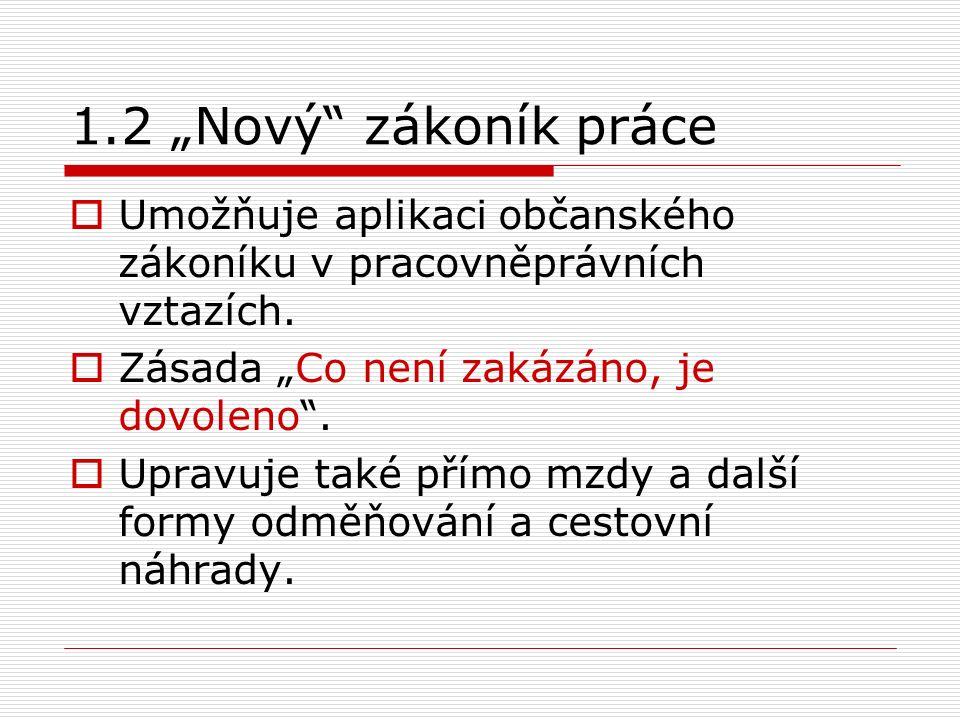 """1.2 """"Nový zákoník práce  Umožňuje aplikaci občanského zákoníku v pracovněprávních vztazích."""