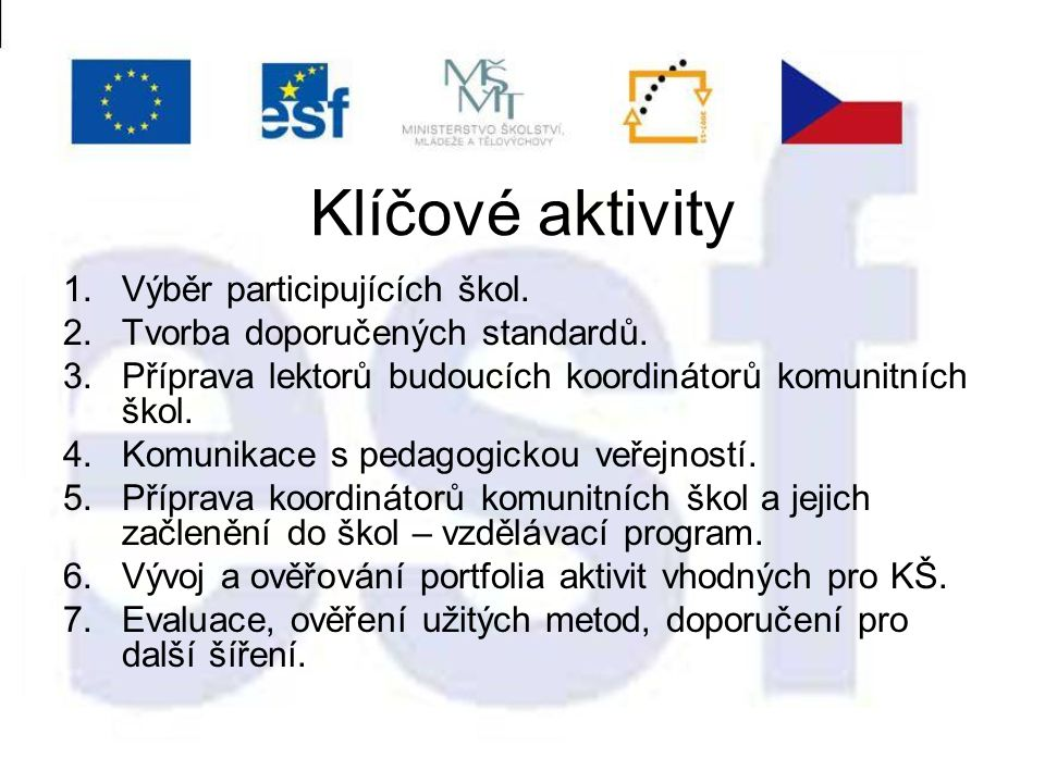 Klíčové aktivity 1.Výběr participujících škol. 2.Tvorba doporučených standardů.