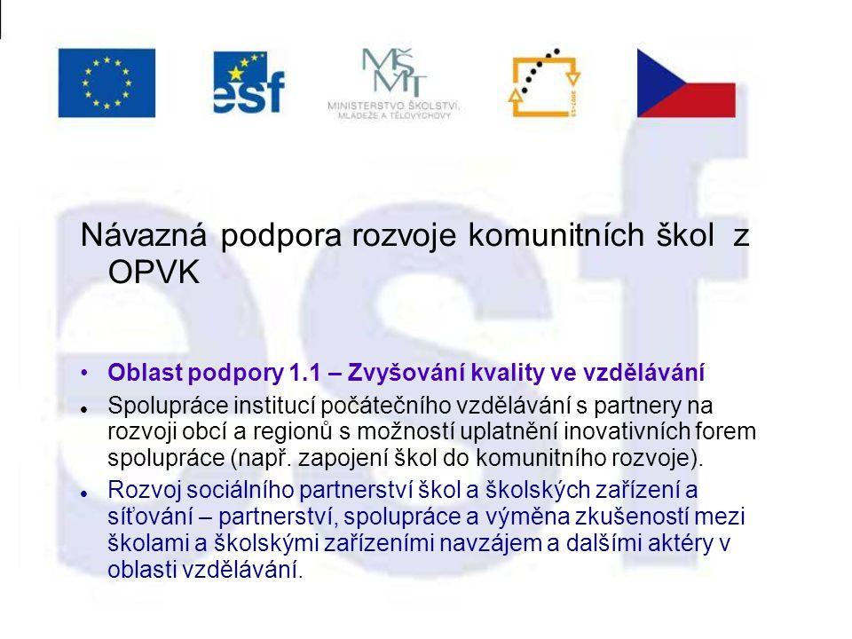 Návazná podpora rozvoje komunitních škol z OPVK Oblast podpory 1.1 – Zvyšování kvality ve vzdělávání Spolupráce institucí počátečního vzdělávání s partnery na rozvoji obcí a regionů s možností uplatnění inovativních forem spolupráce (např.