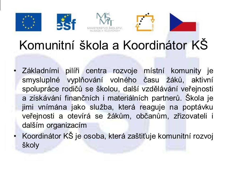Komunitní škola a Koordinátor KŠ Základními pilíři centra rozvoje místní komunity je smysluplné vyplňování volného času žáků, aktivní spolupráce rodičů se školou, další vzdělávání veřejnosti a získávání finančních i materiálních partnerů.