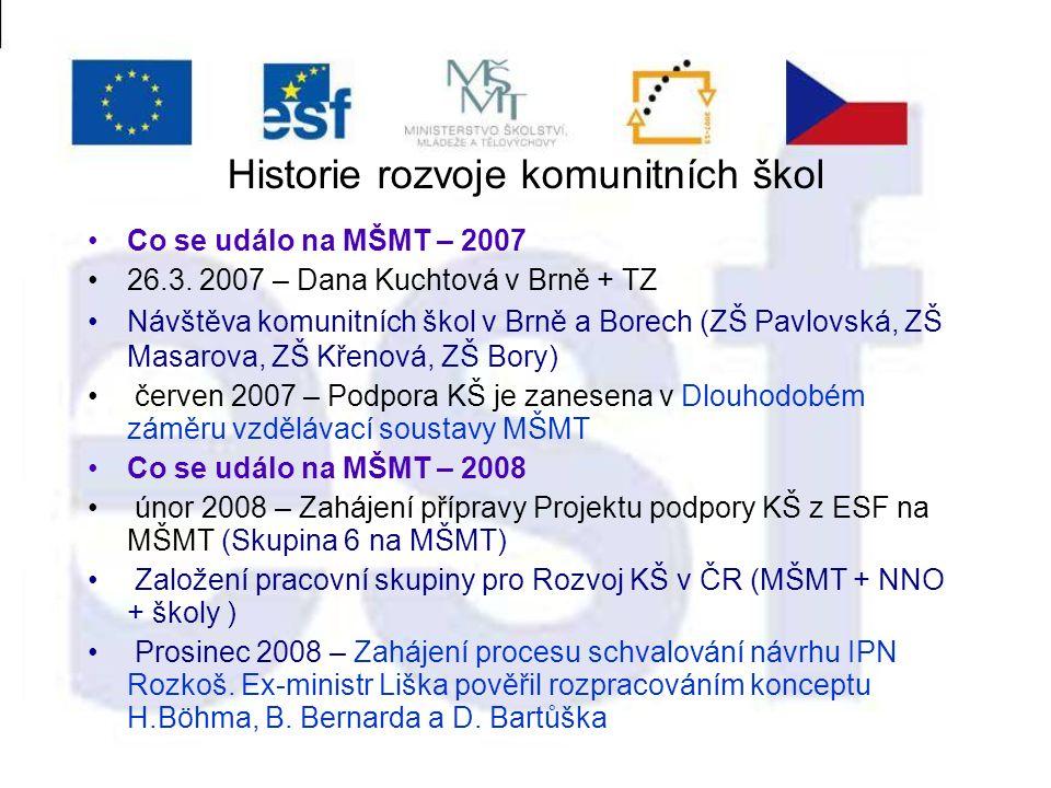 Historie rozvoje komunitních škol Co se událo na MŠMT – 2007 26.3.