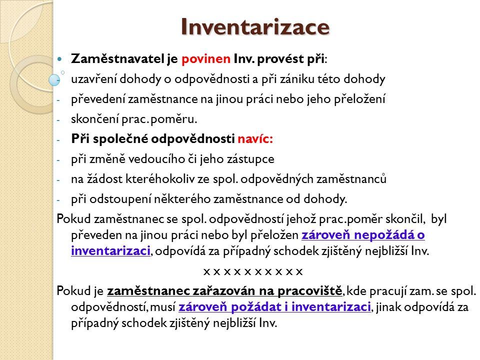Inventarizace Inventarizace Zaměstnavatel je povinen Inv.