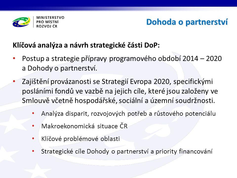 Klíčová analýza a návrh strategické části DoP: Postup a strategie přípravy programového období 2014 – 2020 a Dohody o partnerství.