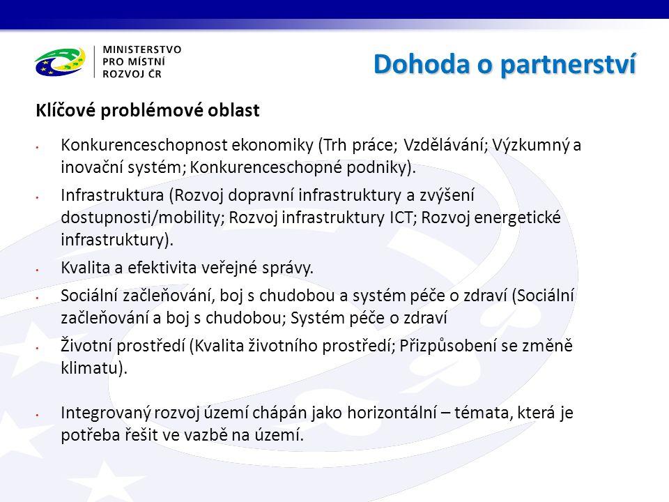 Pravidla řízení a koordinace Dohody o partnerství v programovém období 2014-2020 Cílem zajistit institucionální a procesní řízení za účelem naplnění cílů Dohody o partnerství.