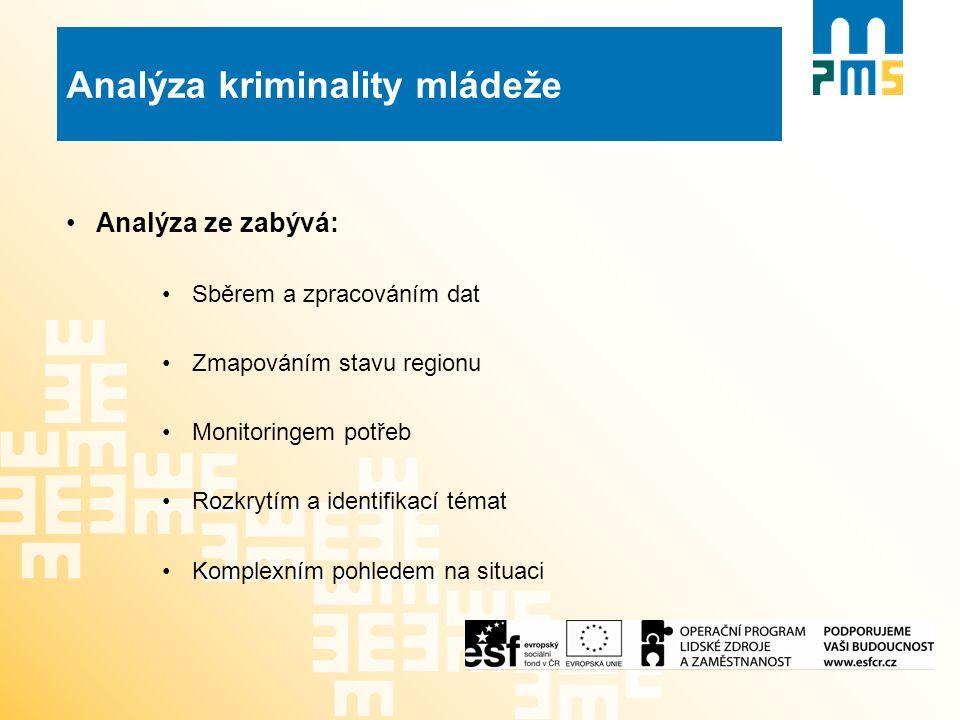 Analýza kriminality mládeže Analýza ze zabývá: Sběrem a zpracováním dat Zmapováním stavu regionu Monitoringem potřeb Rozkrytím a identifikací témat Komplexním pohledem na situaci