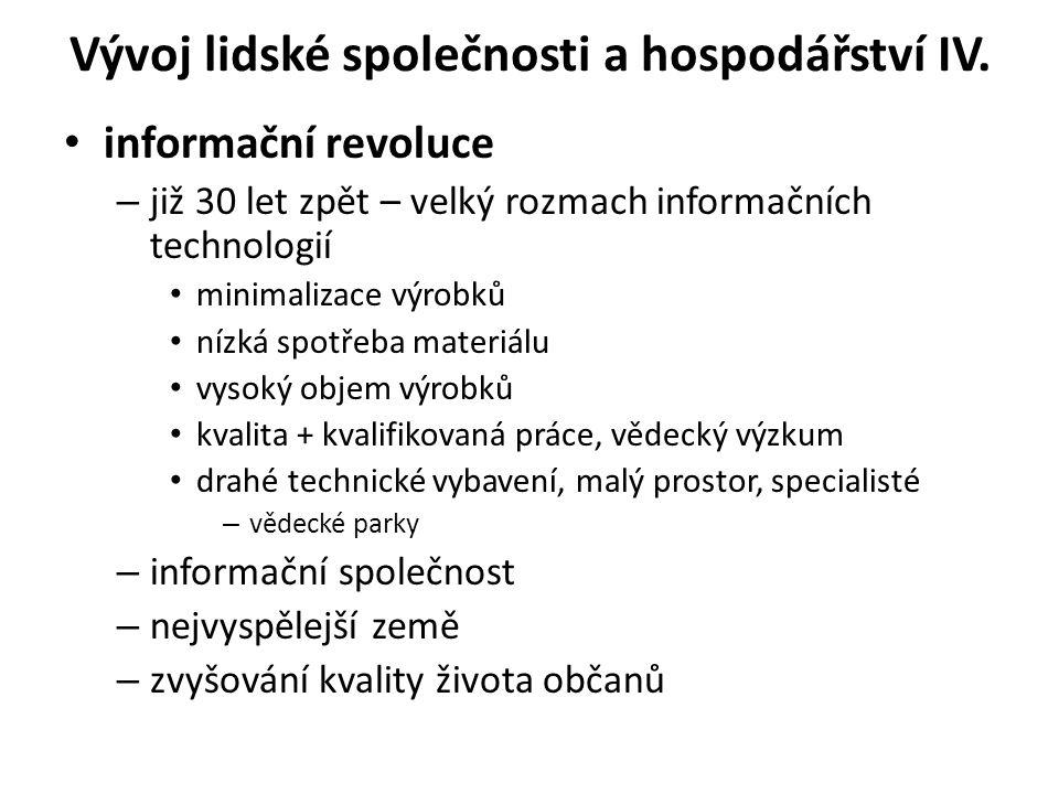 Vývoj lidské společnosti a hospodářství IV.