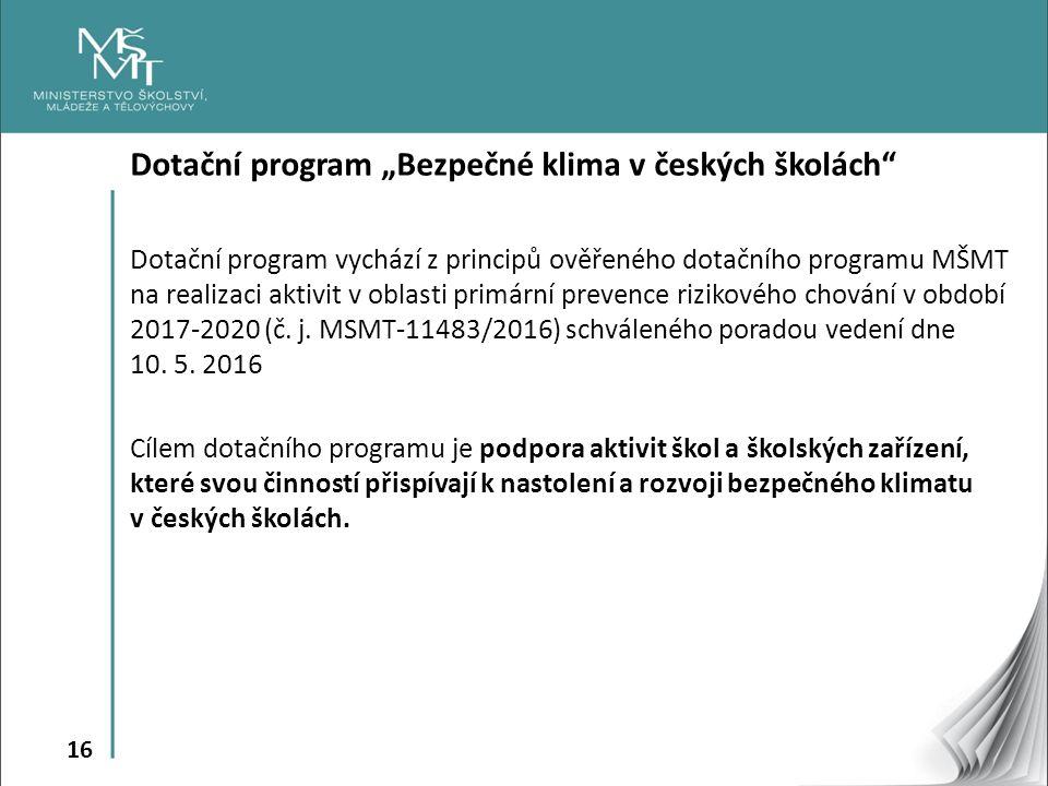 """16 Dotační program """"Bezpečné klima v českých školách Dotační program vychází z principů ověřeného dotačního programu MŠMT na realizaci aktivit v oblasti primární prevence rizikového chování v období 2017-2020 (č."""
