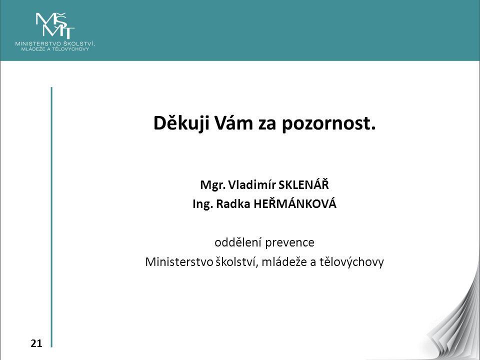 21 Děkuji Vám za pozornost. Mgr. Vladimír SKLENÁŘ Ing.