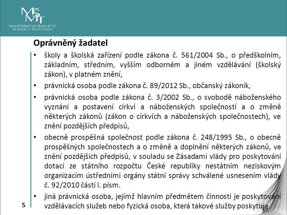 5 Oprávněný žadatel školy a školská zařízení podle zákona č.