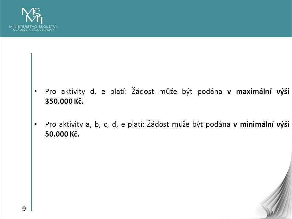 9 Pro aktivity d, e platí: Žádost může být podána v maximální výši 350.000 Kč.