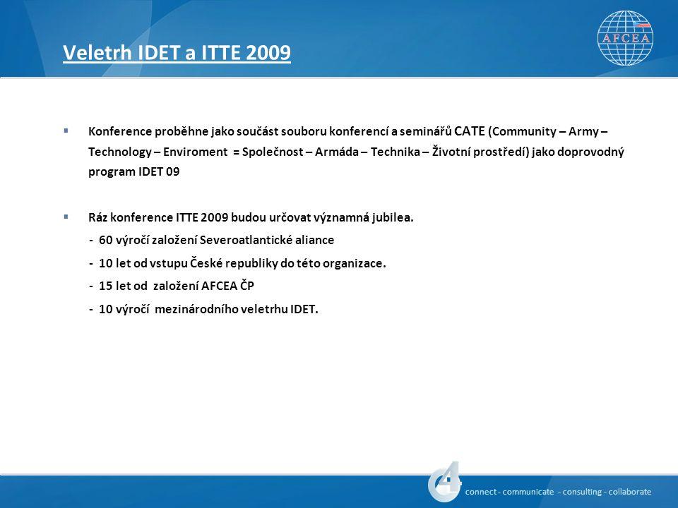 connect - communicate - consulting - collaborate Veletrh IDET a ITTE 2009  Konference proběhne jako součást souboru konferencí a seminářů CATE (Community – Army – Technology – Enviroment = Společnost – Armáda – Technika – Životní prostředí) jako doprovodný program IDET 09  Ráz konference ITTE 2009 budou určovat významná jubilea.