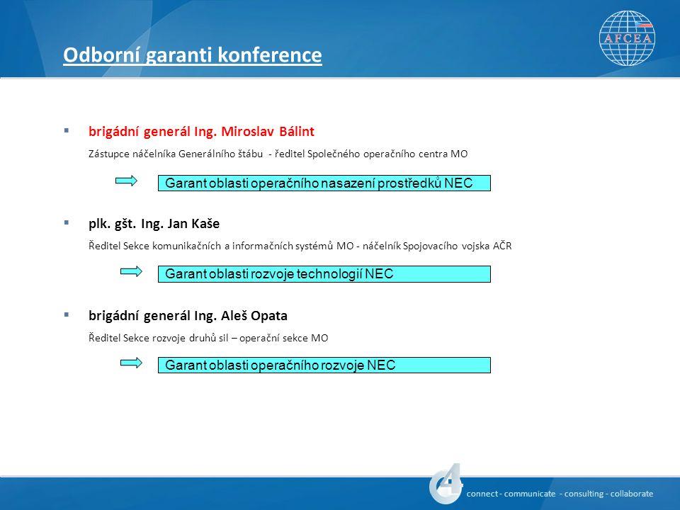 connect - communicate - consulting - collaborate Odborní garanti konference  brigádní generál Ing.