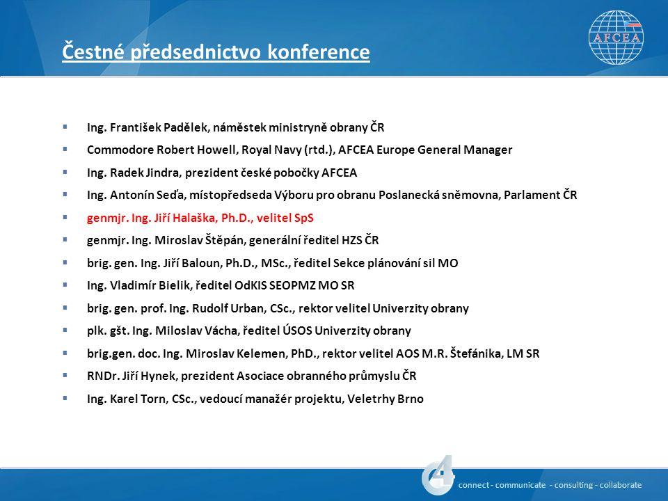 connect - communicate - consulting - collaborate Oslovení hosté konference  Jiří Šedivý, Ph.D., náměstek generálního tajemníka NATO  Štefan Fülle, mimořádný a zplnomocněný velvyslanec ČR při NATO  Major General Georges D´hollander, Director NATO HQ C3 Staff  genporučík Ing.
