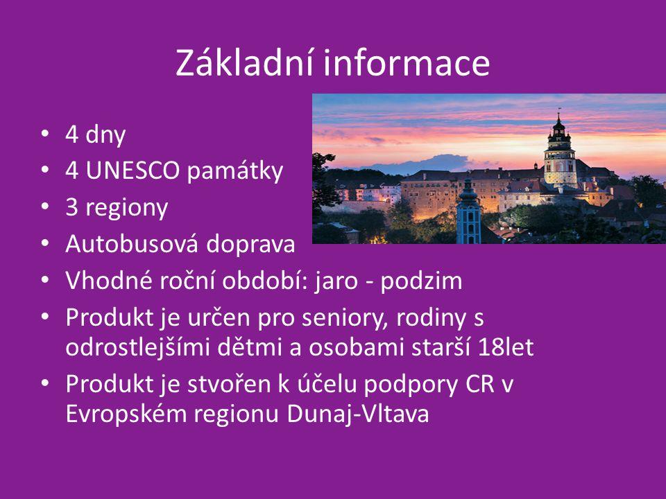 Základní informace 4 dny 4 UNESCO památky 3 regiony Autobusová doprava Vhodné roční období: jaro - podzim Produkt je určen pro seniory, rodiny s odrostlejšími dětmi a osobami starší 18let Produkt je stvořen k účelu podpory CR v Evropském regionu Dunaj-Vltava
