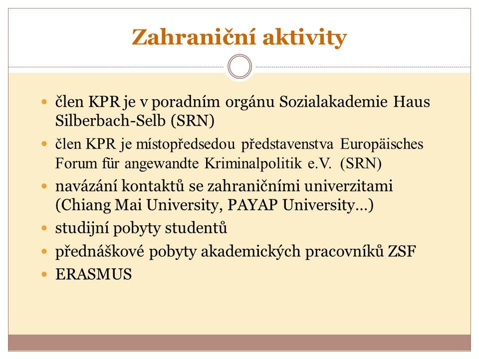 Zahraniční aktivity člen KPR je v poradním orgánu Sozialakademie Haus Silberbach-Selb (SRN) člen KPR je místopředsedou představenstva Europäisches Forum für angewandte Kriminalpolitik e.V.
