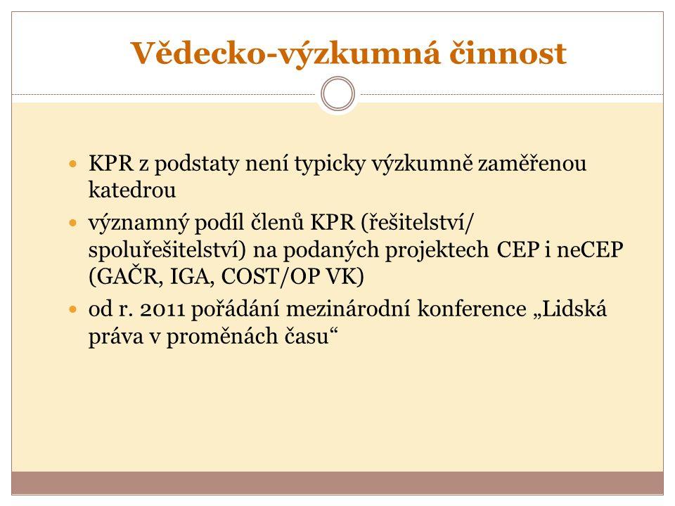 Vědecko-výzkumná činnost KPR z podstaty není typicky výzkumně zaměřenou katedrou významný podíl členů KPR (řešitelství/ spoluřešitelství) na podaných projektech CEP i neCEP (GAČR, IGA, COST/OP VK) od r.