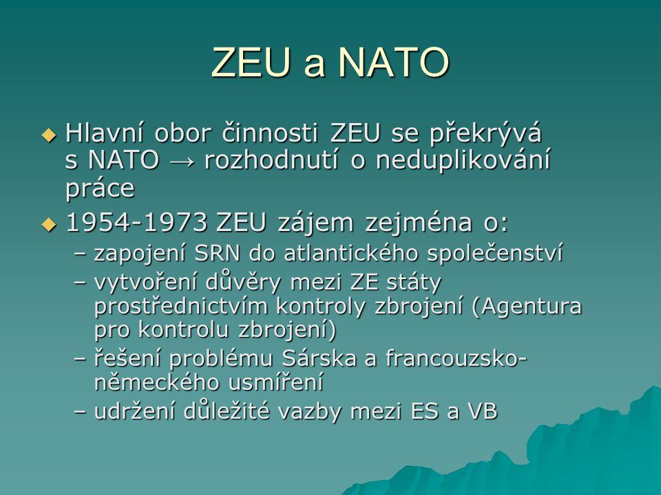 ZEU a NATO  Hlavní obor činnosti ZEU se překrývá s NATO → rozhodnutí o neduplikování práce  1954-1973 ZEU zájem zejména o: –zapojení SRN do atlantického společenství –vytvoření důvěry mezi ZE státy prostřednictvím kontroly zbrojení (Agentura pro kontrolu zbrojení) –řešení problému Sárska a francouzsko- německého usmíření –udržení důležité vazby mezi ES a VB