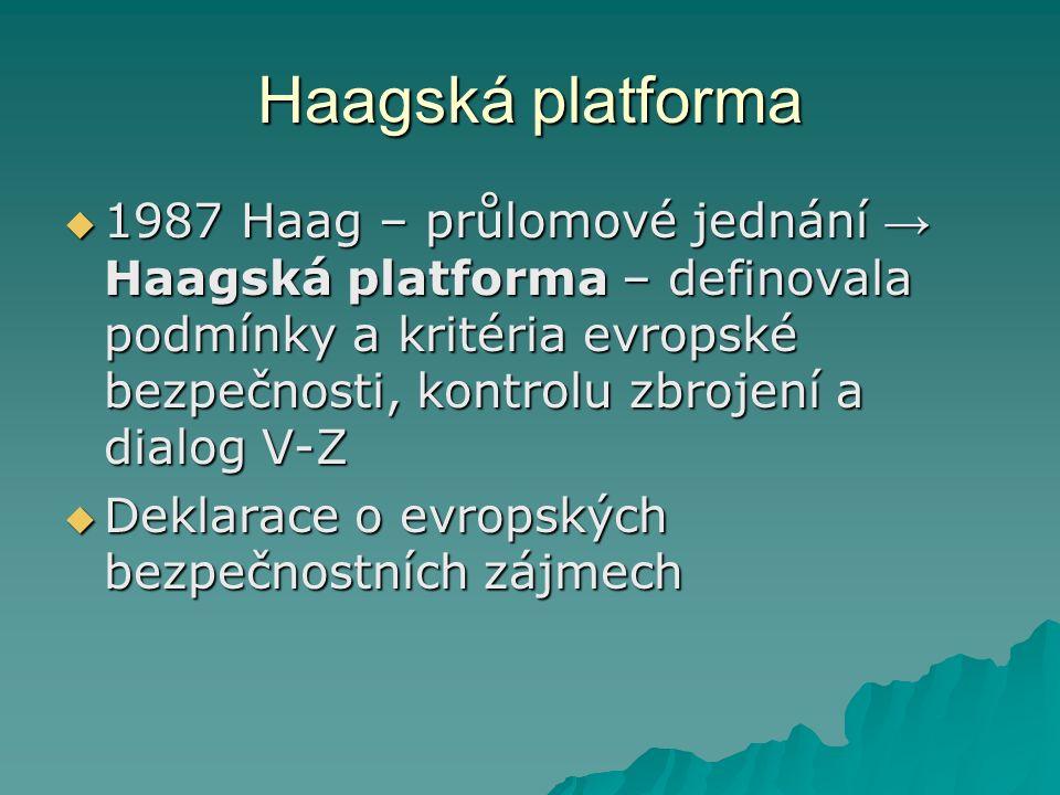 Haagská platforma  1987 Haag – průlomové jednání → Haagská platforma – definovala podmínky a kritéria evropské bezpečnosti, kontrolu zbrojení a dialog V-Z  Deklarace o evropských bezpečnostních zájmech