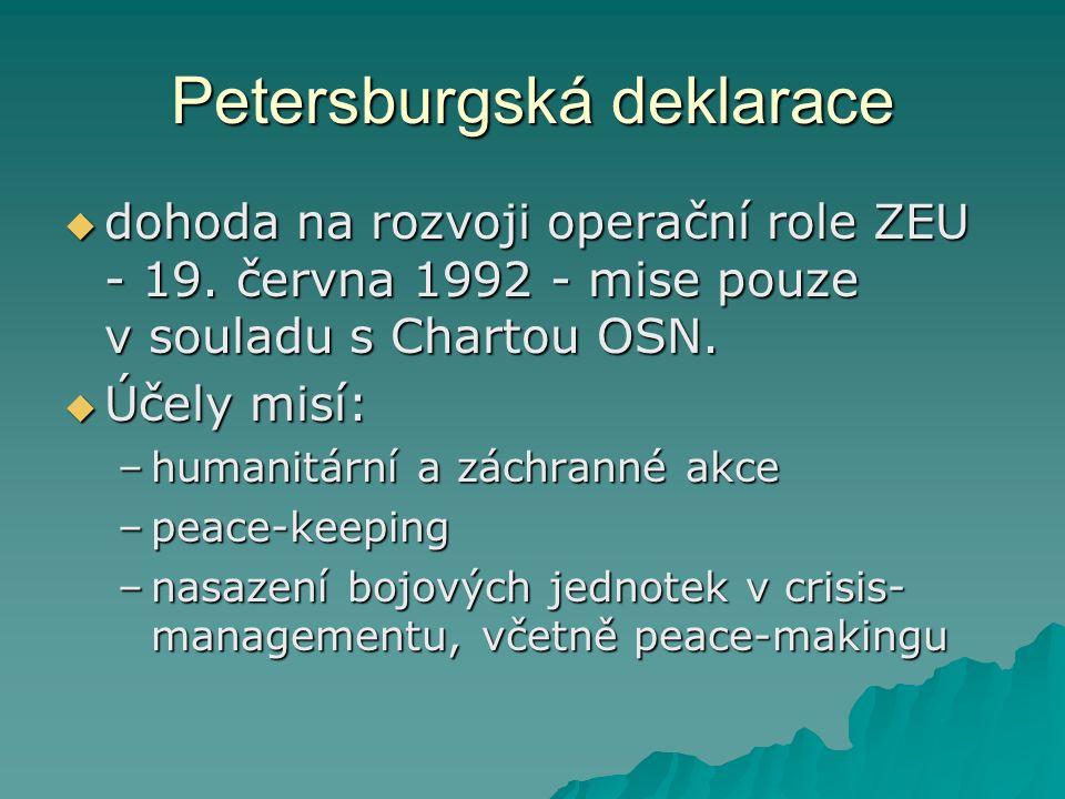 Petersburgská deklarace  dohoda na rozvoji operační role ZEU - 19.
