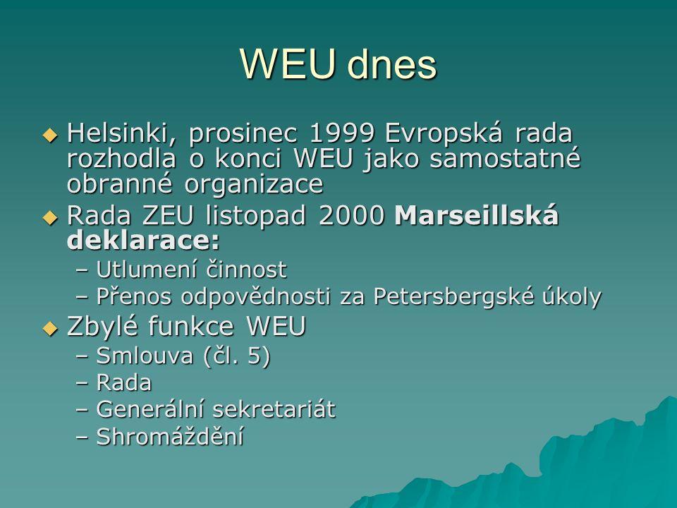 WEU dnes  Helsinki, prosinec 1999 Evropská rada rozhodla o konci WEU jako samostatné obranné organizace  Rada ZEU listopad 2000 Marseillská deklarace: –Utlumení činnost –Přenos odpovědnosti za Petersbergské úkoly  Zbylé funkce WEU –Smlouva (čl.