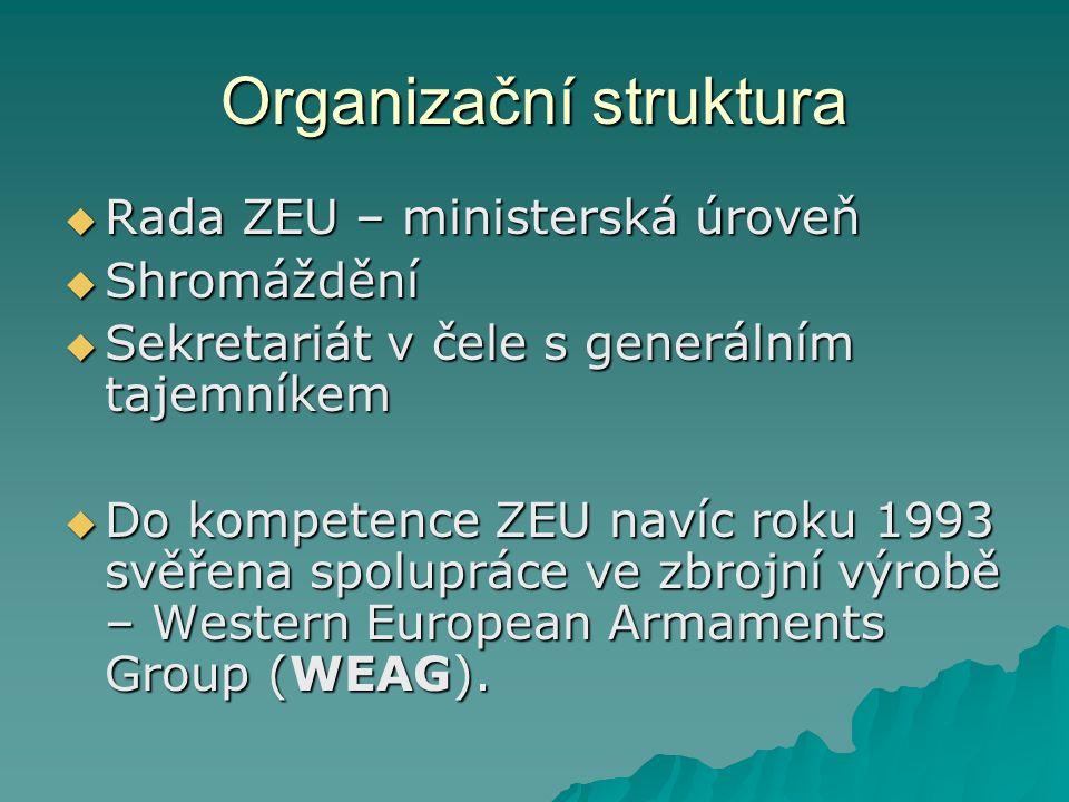Organizační struktura  Rada ZEU – ministerská úroveň  Shromáždění  Sekretariát v čele s generálním tajemníkem  Do kompetence ZEU navíc roku 1993 svěřena spolupráce ve zbrojní výrobě – Western European Armaments Group (WEAG).