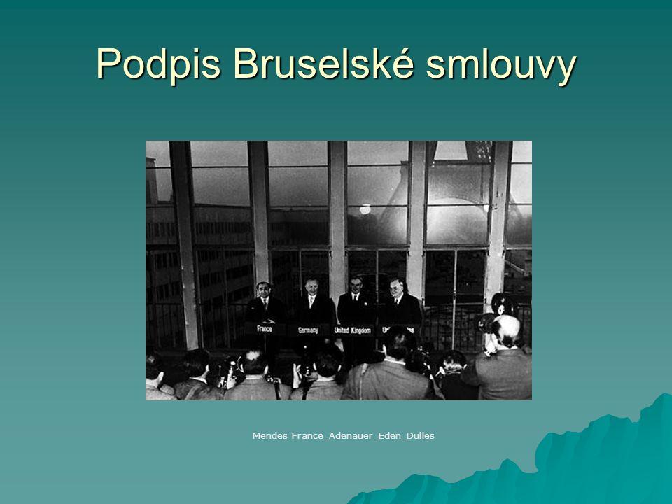 Podpis Bruselské smlouvy Mendes France_Adenauer_Eden_Dulles