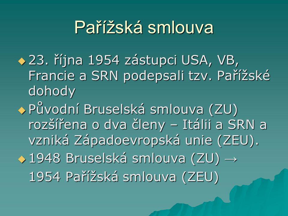 Pařížská smlouva  23.října 1954 zástupci USA, VB, Francie a SRN podepsali tzv.