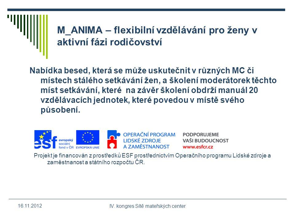 IV. kongres Sítě mateřských center 16.11.2012 M_ANIMA – flexibilní vzdělávání pro ženy v aktivní fázi rodičovství Nabídka besed, která se může uskuteč