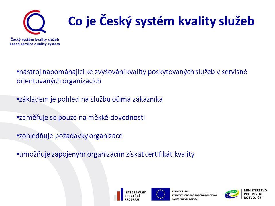 Co je Český systém kvality služeb nástroj napomáhající ke zvyšování kvality poskytovaných služeb v servisně orientovaných organizacích základem je pohled na službu očima zákazníka zaměřuje se pouze na měkké dovednosti zohledňuje požadavky organizace umožňuje zapojeným organizacím získat certifikát kvality