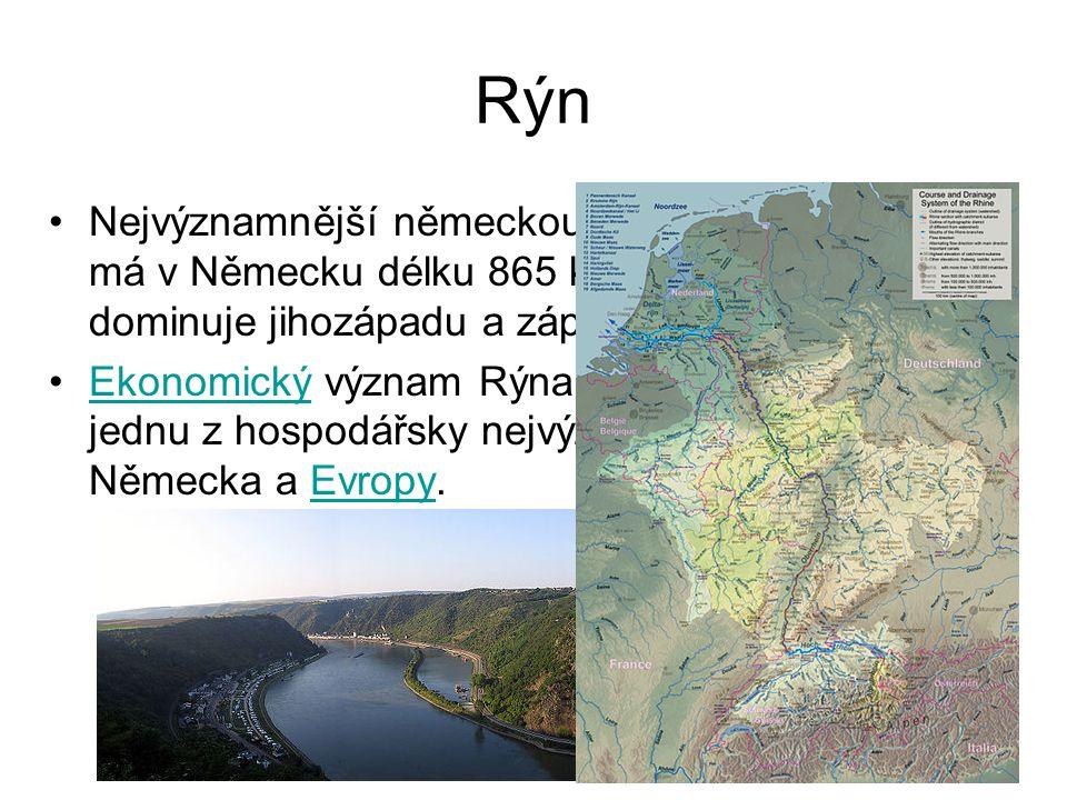 Rýn Nejvýznamnější německou řekou je Rýn, který má v Německu délku 865 kilometrů.