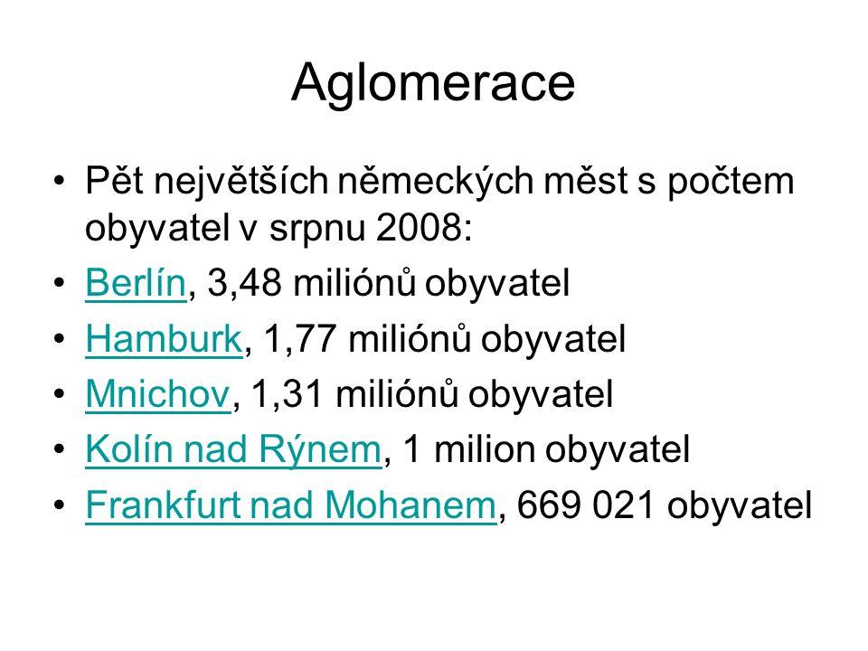 Aglomerace Pět největších německých měst s počtem obyvatel v srpnu 2008: Berlín, 3,48 miliónů obyvatelBerlín Hamburk, 1,77 miliónů obyvatelHamburk Mnichov, 1,31 miliónů obyvatelMnichov Kolín nad Rýnem, 1 milion obyvatelKolín nad Rýnem Frankfurt nad Mohanem, 669 021 obyvatelFrankfurt nad Mohanem