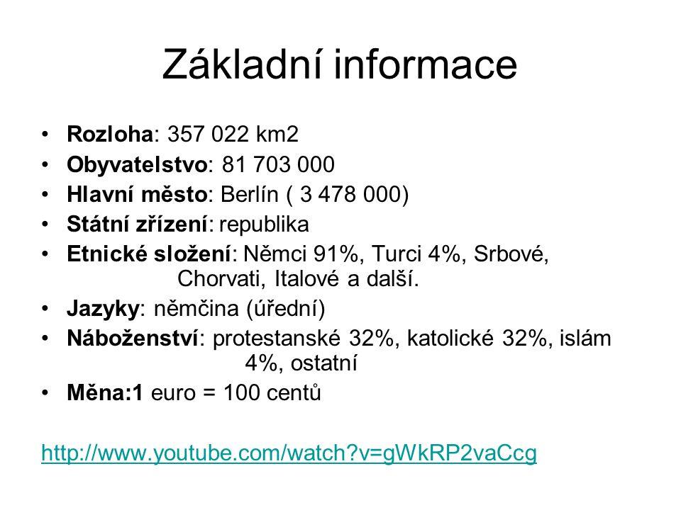 Základní informace Rozloha: 357 022 km2 Obyvatelstvo: 81 703 000 Hlavní město: Berlín ( 3 478 000) Státní zřízení: republika Etnické složení: Němci 91%, Turci 4%, Srbové, Chorvati, Italové a další.