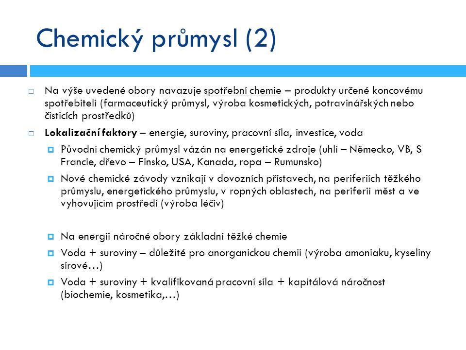Chemický průmysl (2)  Na výše uvedené obory navazuje spotřební chemie – produkty určené koncovému spotřebiteli (farmaceutický průmysl, výroba kosmeti