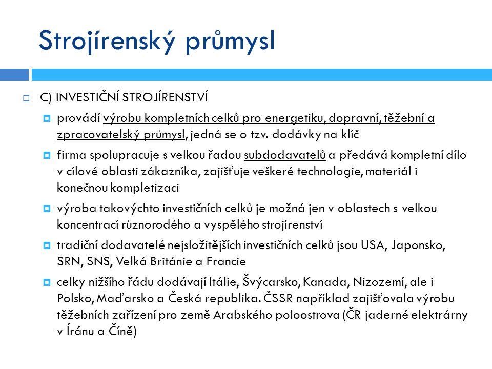 Strojírenský průmysl  C) INVESTIČNÍ STROJÍRENSTVÍ  provádí výrobu kompletních celků pro energetiku, dopravní, těžební a zpracovatelský průmysl, jedn