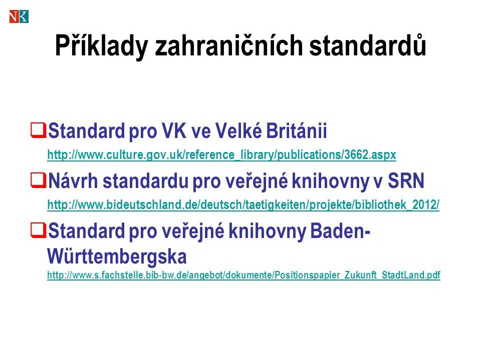 Příklady zahraničních standardů  Standard pro VK ve Velké Británii http://www.culture.gov.uk/reference_library/publications/3662.aspx  Návrh standardu pro veřejné knihovny v SRN http://www.bideutschland.de/deutsch/taetigkeiten/projekte/bibliothek_2012/  Standard pro veřejné knihovny Baden- Württembergska http://www.s.fachstelle.bib-bw.de/angebot/dokumente/Positionspapier_Zukunft_StadtLand.pdf http://www.s.fachstelle.bib-bw.de/angebot/dokumente/Positionspapier_Zukunft_StadtLand.pdf